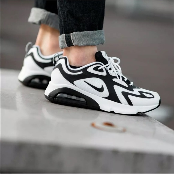 Women's Nike Air Max 200 Black + White Sneakers